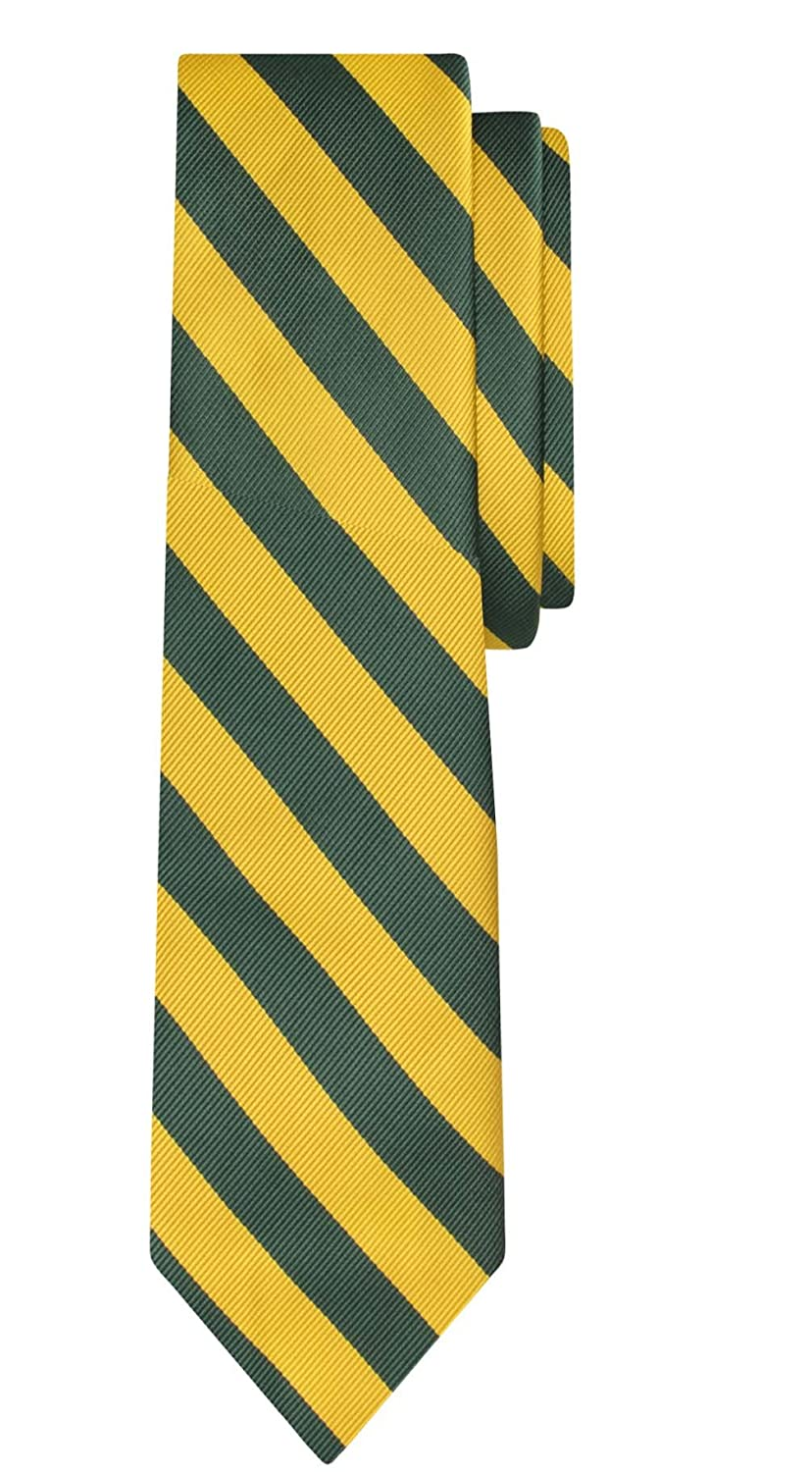 Jacob Alexander Stripe Woven Boys Regular College Striped Tie - Red Black JCSB002