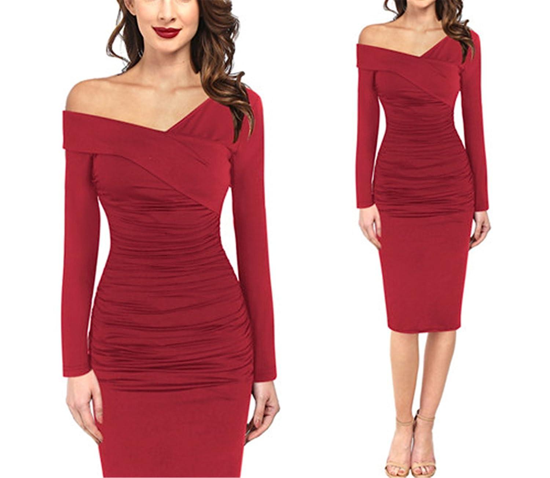 Amazon.com: Suppliesed Elegante Vintage Sexy de hombro v-Cuello acanalada drapeado: Clothing