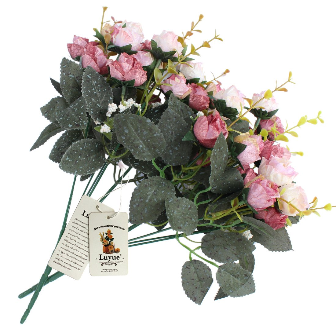 Amazon luyue 7 branch 21 heads artificial silk fake flowers amazon luyue 7 branch 21 heads artificial silk fake flowers leaf rose wedding floral decor bouquetpack of 2 pink coffee home kitchen dhlflorist Gallery