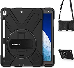 BRAECN iPad Air 3 10.5 Case 2019,iPad Pro 10.5 Case 2017- Heavy Duty Shockproof Case Cover with Pencil Holder,Rotating Stand/Hand Strap,Carrying Shoulder Strap Fit iPad Air 3rd Gen case 10.5 -Black