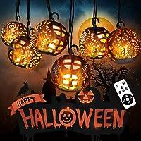 Guirnaldas Luminosas de Halloween, Luces de Cadena de Hadas con 8 Bolas de Llamas y Control Remoto,IP44 Interior…