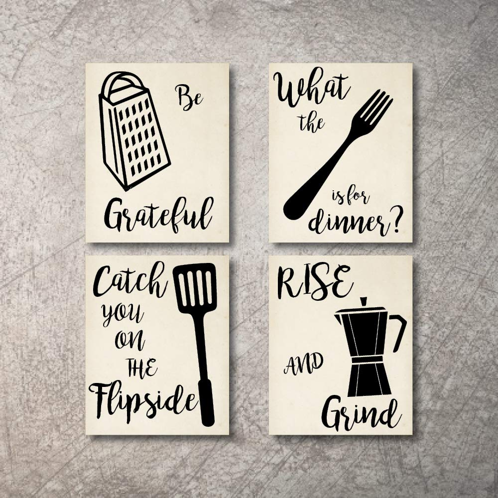 Kitchen Wall Decor Art Prints 4 UNFRAMED Linen Paper Prints NOT CANVAS Rustic Wall Signs Home Coffee Decor Pictures Funny and Inspirational Farmhouse Style Wall Decorations Living Dining Room Cuadros pared de cocina (Beige, 5×7)