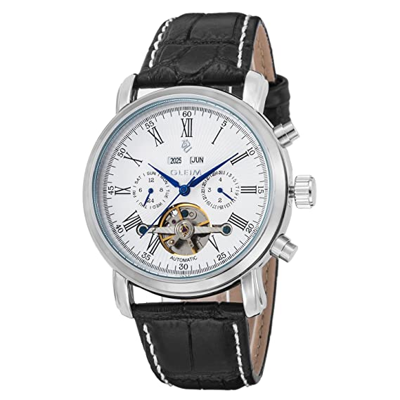GLEIM para hombre automático mecánico tourbillon reloj esfera blanca azul manos calendario FECHA DÍA mes año