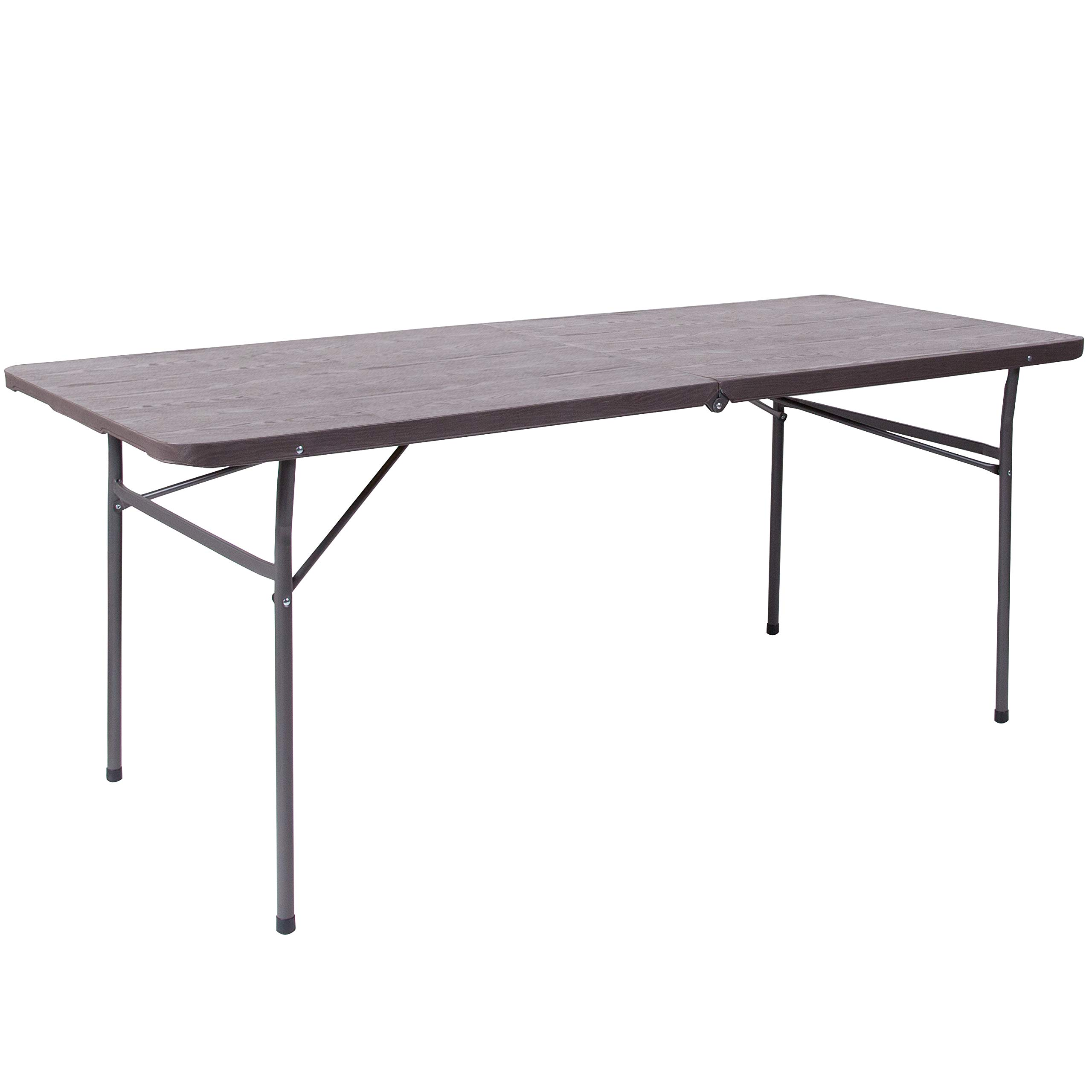 Flash Furniture 6-Foot Bi-Fold Brown Wood Grain Plastic Folding Table with Carrying Handle by Flash Furniture