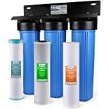 iSpring WGB32BM 3-Stage Whole House Water Filtration System w/ 20-Inch Sediment, Carbon Block, and Iron & Manganese Reducing