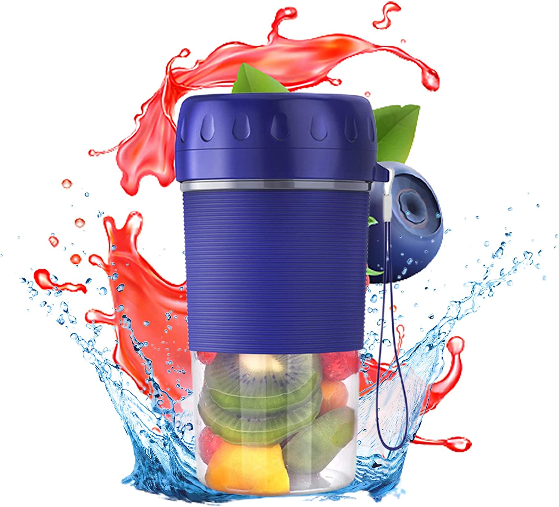 Portable Blender, USB Rechargeable Personal Size Blender 4-blades Multi-use Fruit Juicer Mixer Bottle Squeezer Household Kitchen Tool Blue