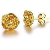 Esberry - Pendientes de plata de ley 925 chapados en oro de 18 quilates, con diseño de rosas, de tuerca, hipoalergénicos…