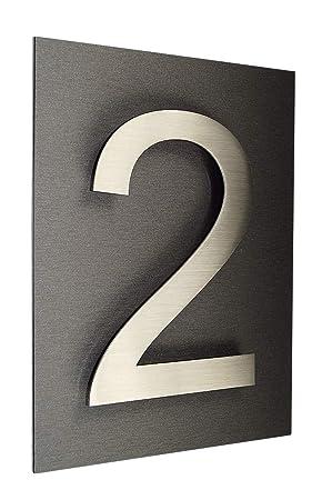 número de casa/placa acero inoxidable nº 2 Arial en 2d de ...
