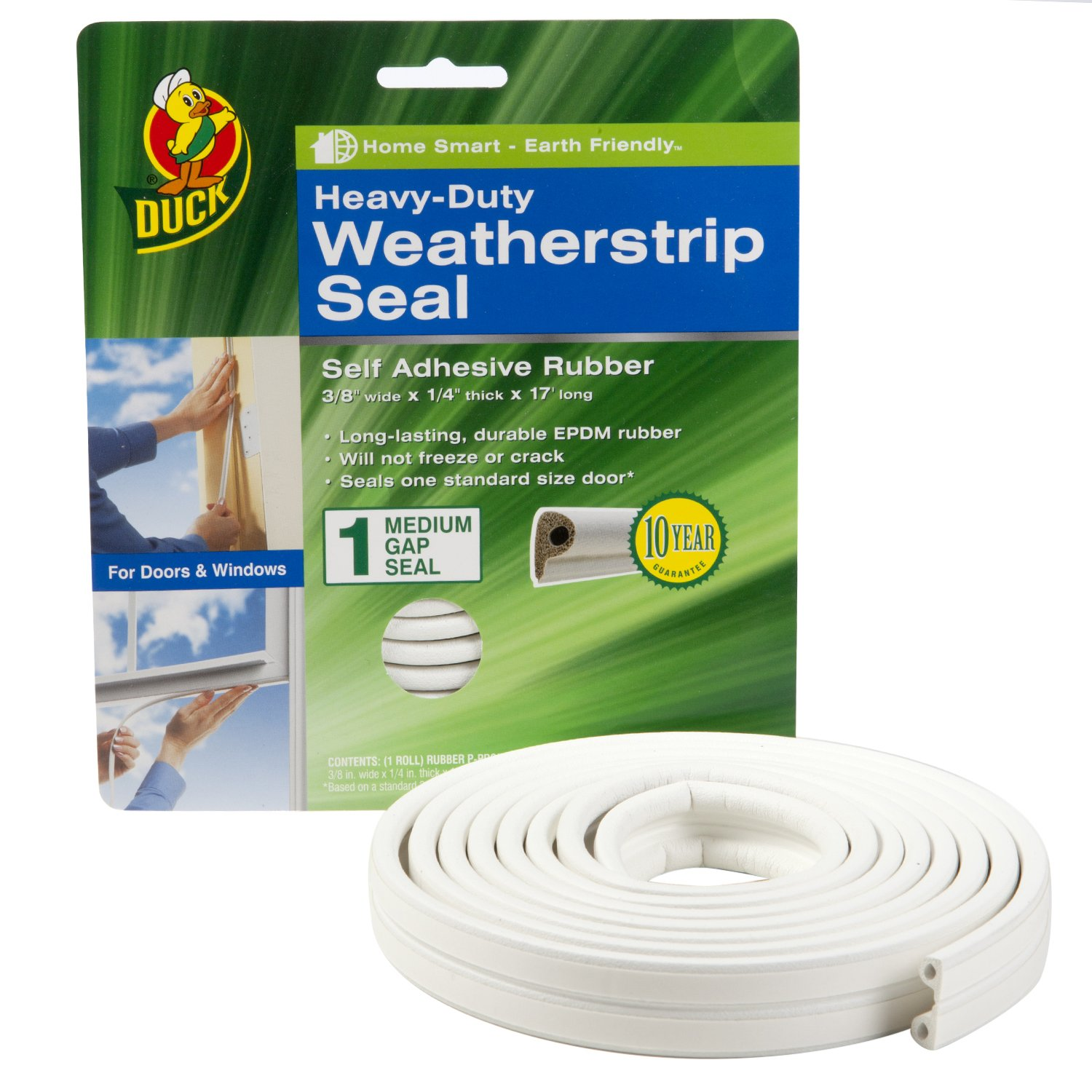 White 2 Seals 282434 Duck Brand Heavy-Duty Self Adhesive Weatherstrip Seal for Large Gap 3//8-Inch x 1//4-Inch x 17-Feet