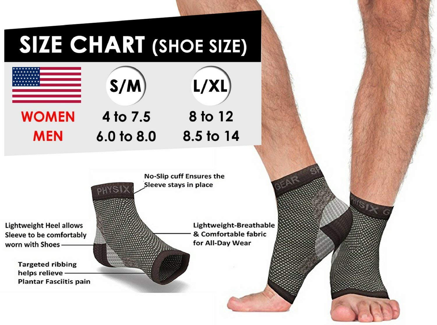 62babb812db Amazon.com  Plantar Fasciitis Socks with Arch Support for Men   Women -  Best 24 7 Compression Socks Foot Sleeve for Aching Feet   Heel Pain Relief  - Washes ...