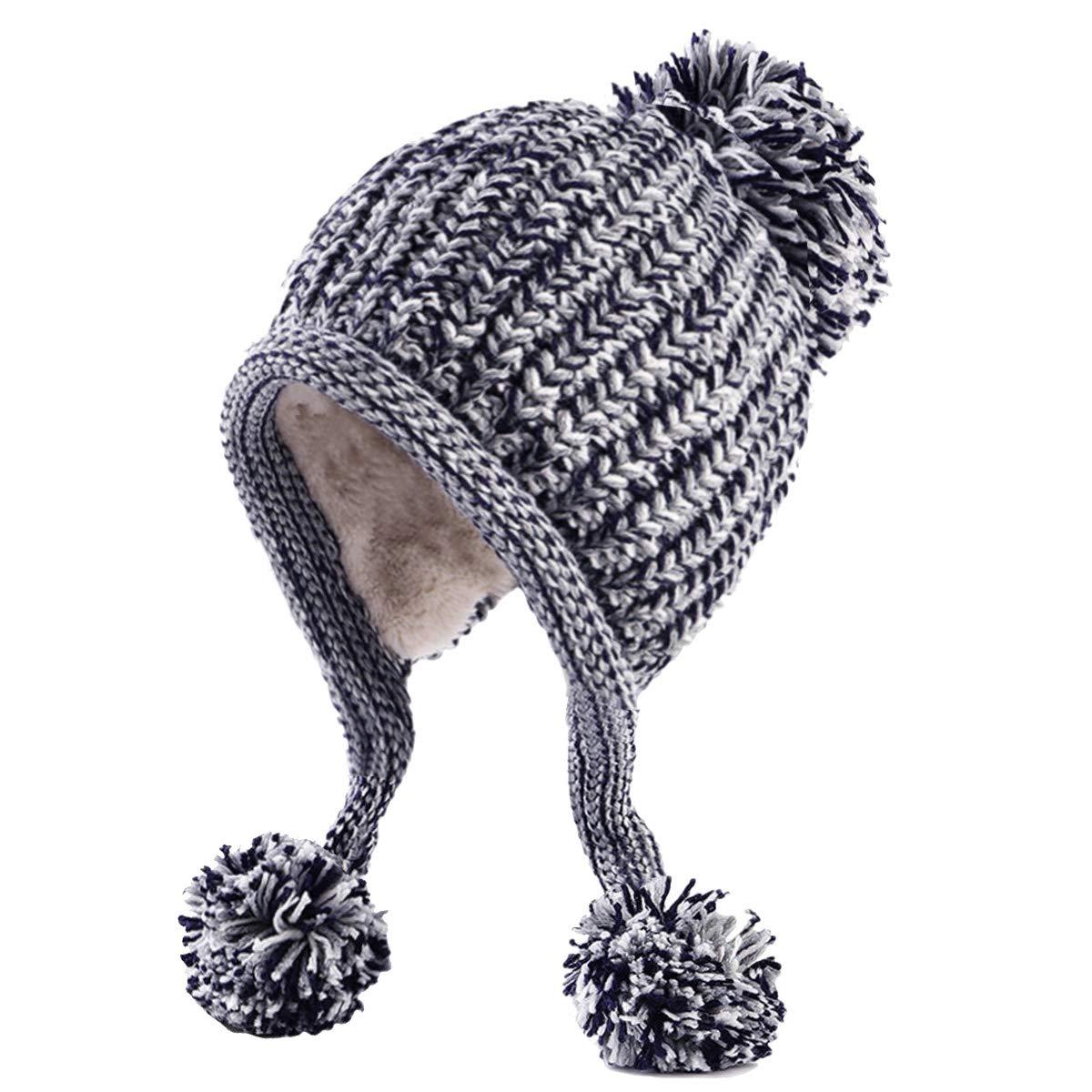 ea5c72ab16f6c HUAMULAN Women Winter Thick Beanie Hat Ski Ear Flaps Caps Dual Layered  Fleece Lined Pompoms - Gray -  Amazon.co.uk  Clothing
