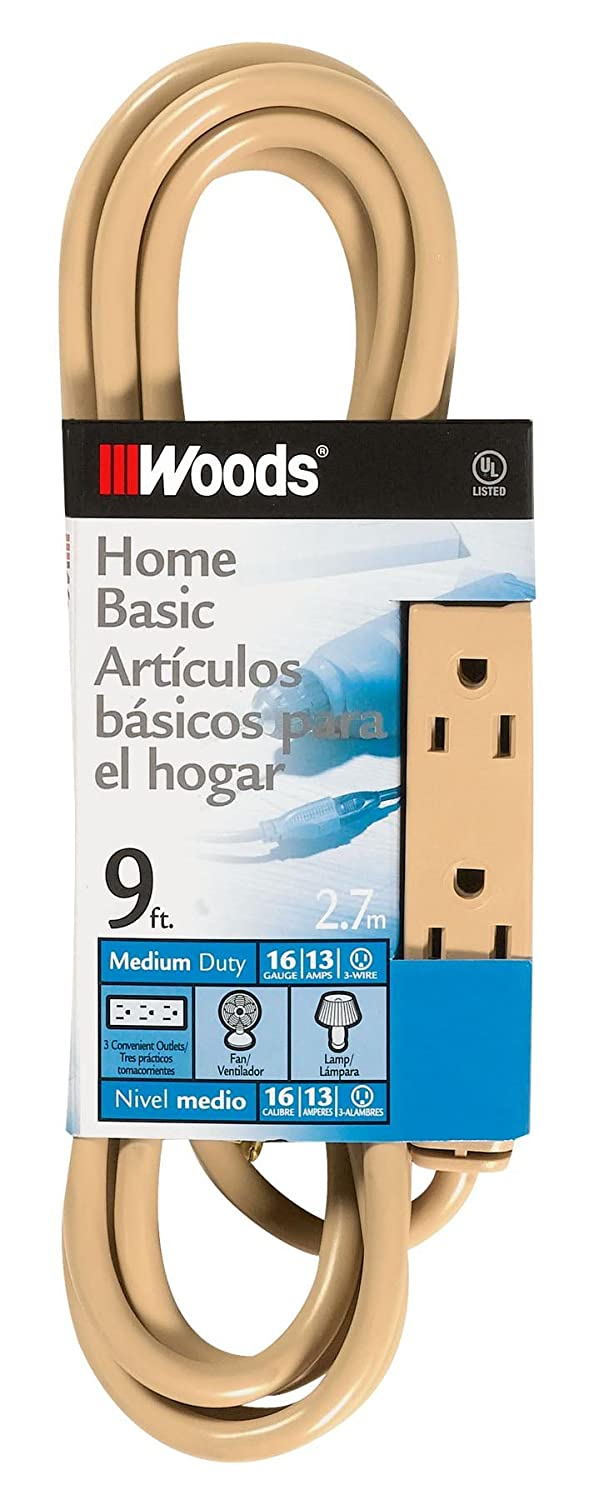 Woods 2978 SJTW 3-Outlet Extension Cord Beige Coleman Cable 9-Foot
