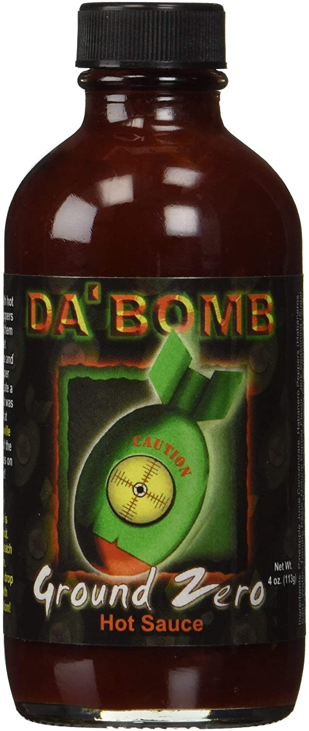 Da'Bomb Hot Sauce, Original Hot Sauce, Gluten Free, Keto, Sugar Free (Ground Zero, Pack of 1)