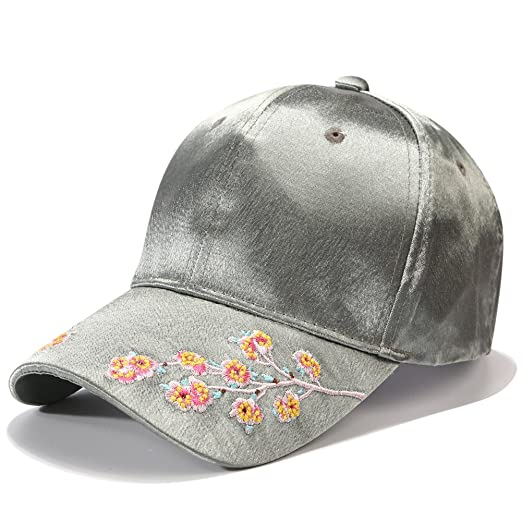 931d39fa45fb9 PT FASHIONS Plum Blossom Flower Embroidered Dad Hat Women s Adjustable  Cotton Satin Floral Baseball Cap-