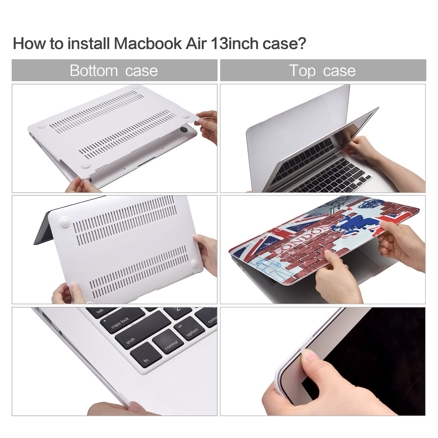 EGONE Macbook Air Case Cover Flag Painting Plastic Hard Protective Shell & Keyboard Cover For 13\