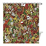 Liguo88 Custom Waterproof Bathroom Shower Curtain Polyester Casino Decorations Doodles Style Art Bingo Excitement Checkers King Tambourine Vegas Decor Decorative bathroom