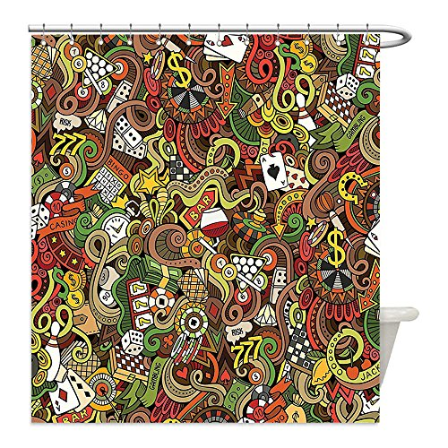 Liguo88 Custom Waterproof Bathroom Shower Curtain Polyester Casino Decorations Doodles Style Art Bingo Excitement Checkers King Tambourine Vegas Decor Decorative bathroom by liguo88