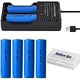 4本 18650 充電池 3.7V 3000mAh USBバッテリー充電器付き 戦術懐中電灯/ヘッドランプ用電池 透明ケース付き