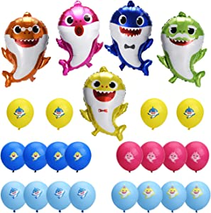 """25pcs Little Cute Shark Balloons for Baby Party Decorations by Halcyon -26"""" Shark Family Helium Balloons with 20pcs 12"""" Round Latex Print Balloons - Shark Theme Party Supplies that brings out the fun!"""