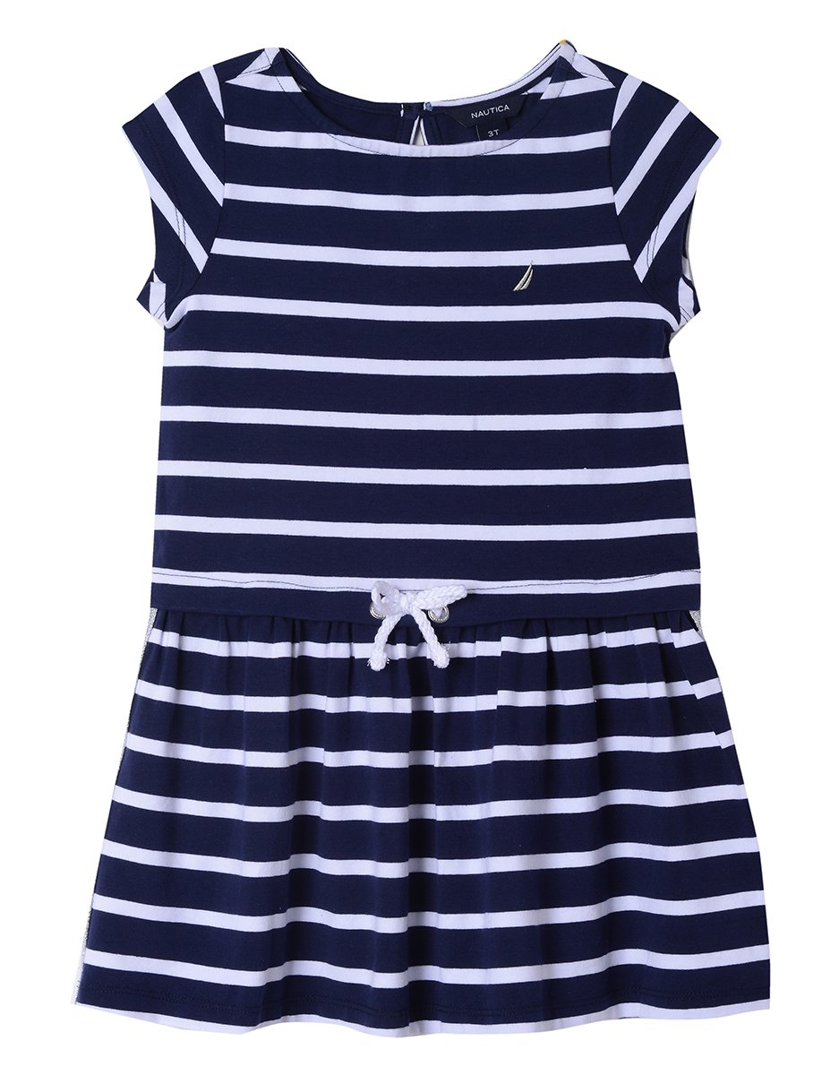 Nautica Little Girls' Short Sleeve Fashion Dress, Drop Navy, 5