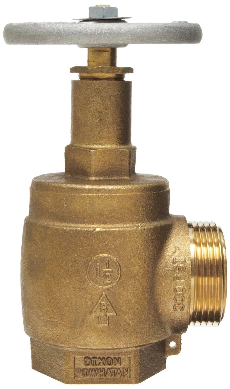 Dixon AV150-I Powhatan Cast Brass Global Angle Hose Valve, 1-1/2'' NPT Female x 1-1/2'' NST Male, 300 psi Pressure