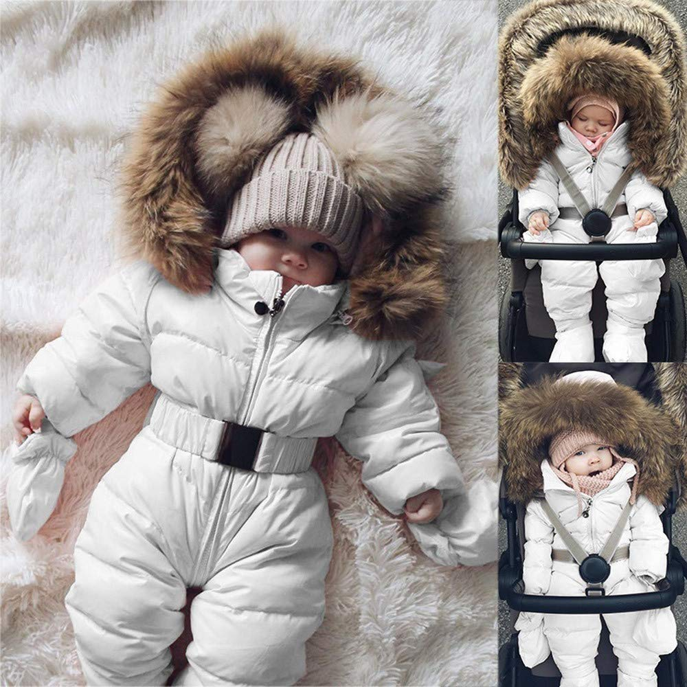 kaiCran Baby Toddler Snowsuit Romper Down Jacket Winter Snowsuit Zipper Padding Onesie for Girls Boys
