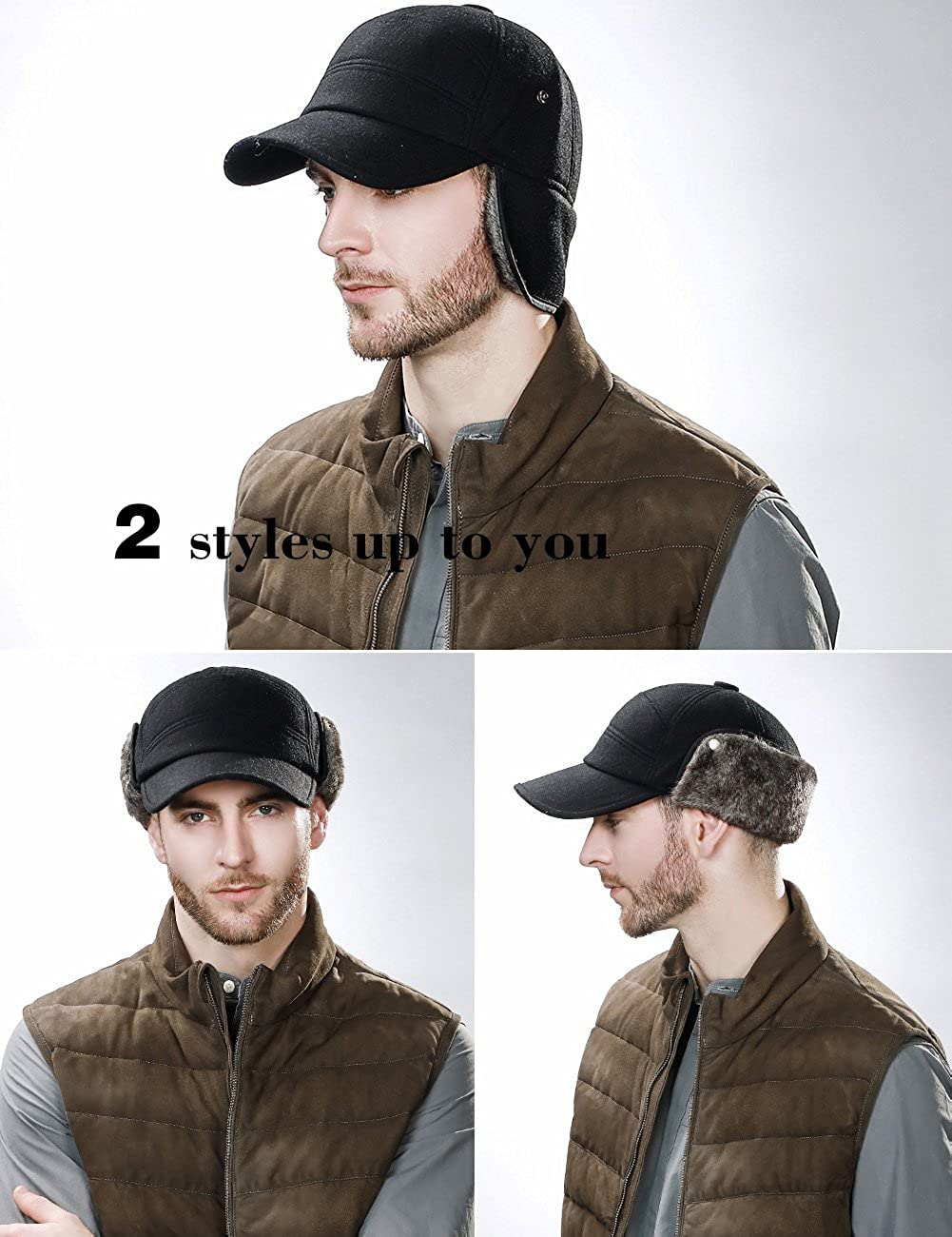 Jagdm/ütze mit Ohrenklappen Unisex verstellbar Gr 99707/_Coffee Camo dick gef/üttert gesteppt w/ärmend Fancet Winterm/ütze mit Ohrenklappen aus Kunstfell Medium