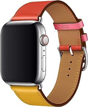 XCool para Correa Apple Watch 38mm 40mm, Cuero Rojo Rosado Naranja Azul para Hombres Mujer para iwatch Serie 4 Serie 3 Serie 2 Serie 1 (42mm/44mm, Naranja&Rosado): Amazon.es: Electrónica