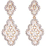BriLove Women's Wedding Bridal Rhombus Crystal Simulated Pearl Hollow Chandelier Dangle Earrings Clear