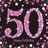 16 x Pink Celebration Age 50 Napkins Pink & Black