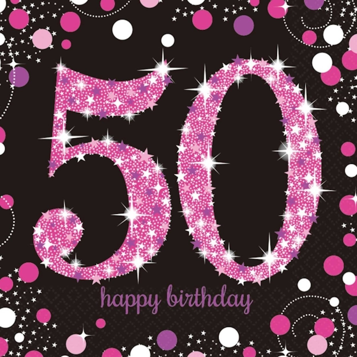 16 x Pink Celebration Age 50 Napkins Pink & Black