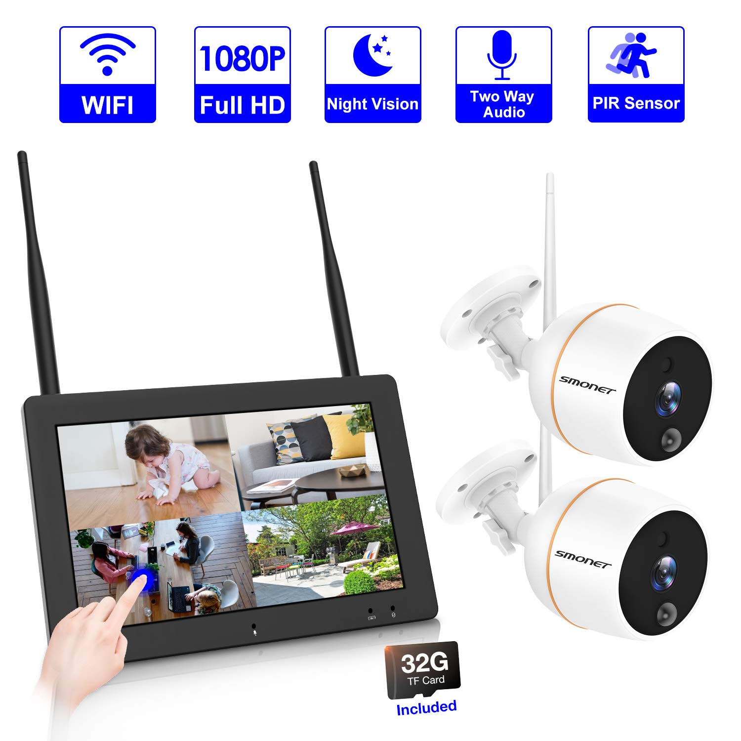 【PLUG&PLAY】4CH Wireless Security Camera System,SMONET 7'' Touchscreen NVR Monitor(32G TF Card Included) With 2PCS 1080P WiFi Outdoor Security Camera,Two-Way Audio,PIR Motion Detection,Easy Remote View
