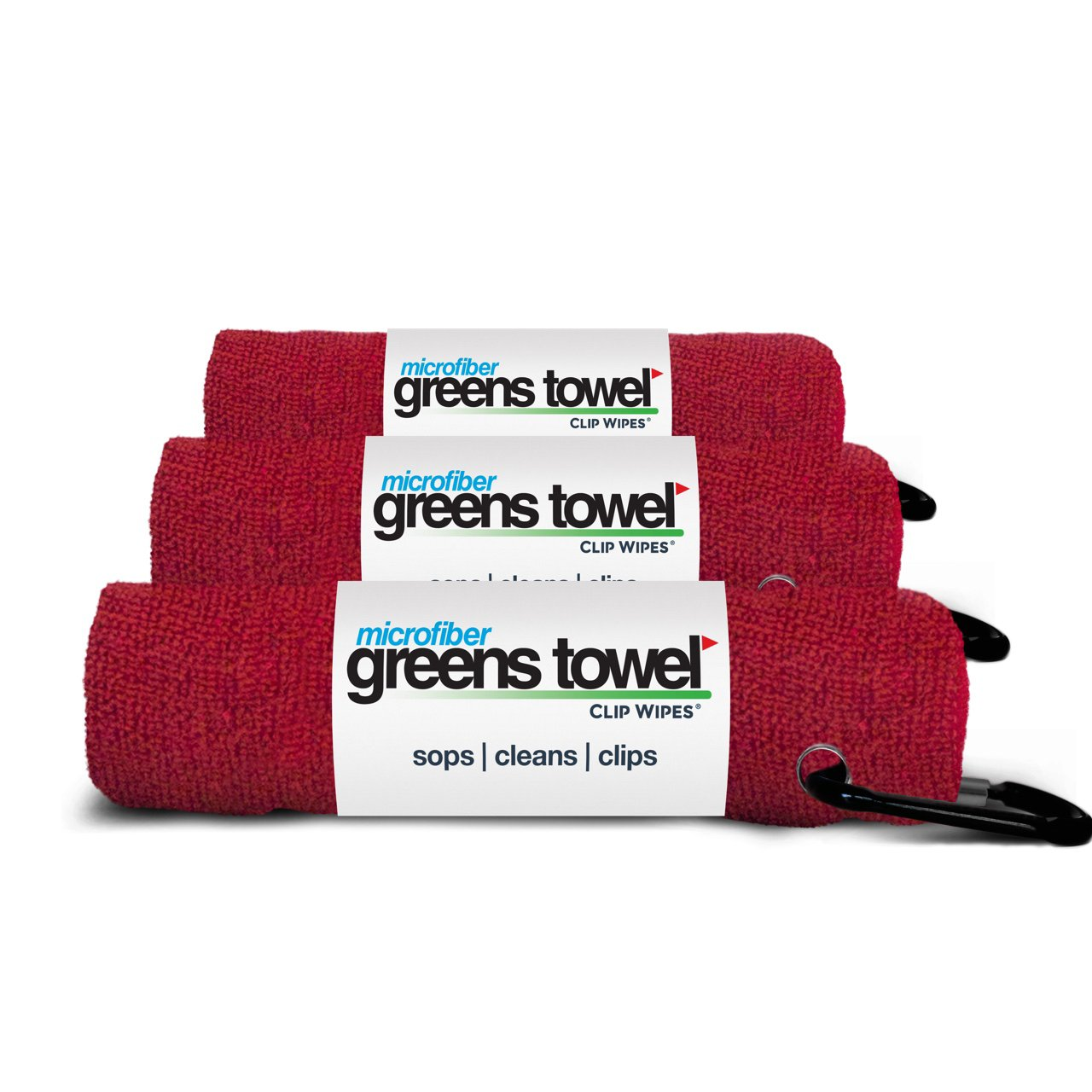 3 Pack of Cardinal Red Microfiber Golf Towels by Greens Towel