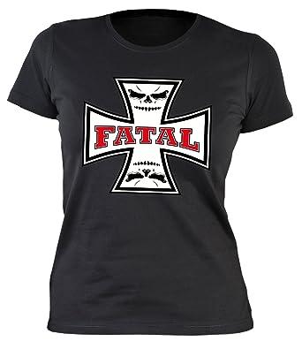 Frauen/Girlie/Damen-Shirt/Biker-Shirt/Kreuz-Motiv: Fatal - cooler Look/ Motorrad/Biker-Shirt: Amazon.de: Bekleidung