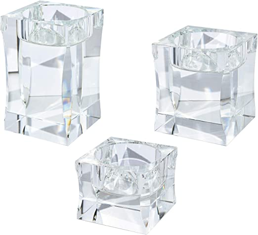 Amazon Com Le Sens Amazing Home Candle Holders Set Of 3 Pieces Elegant Heavy Crystal Diamond Side Cut Tealight Holders Clear Square Glass Cube Candle Holder For Centerpiece And Home Decoration Home