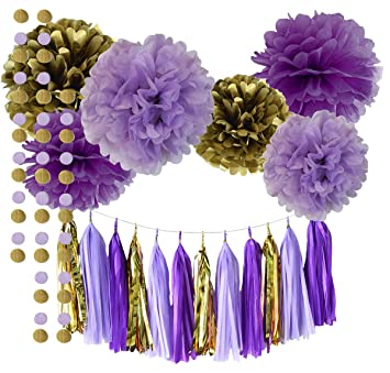 Qianu0027s Party Purple Lavender Glitter Gold Baby Shower Tissue Paper Pom Pom  Paper Tassel Garland First