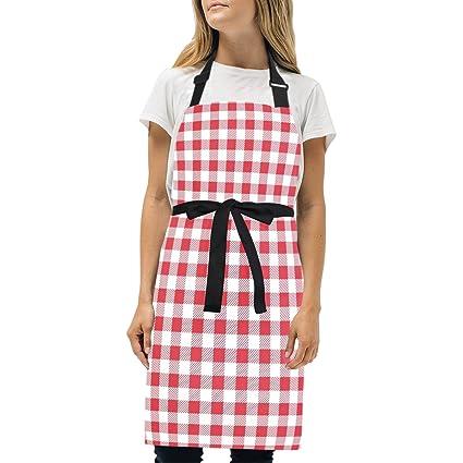 0c035be8fb9b Amazon.com: Naanle Red and White Plaid Tartan Checkered Gingham ...