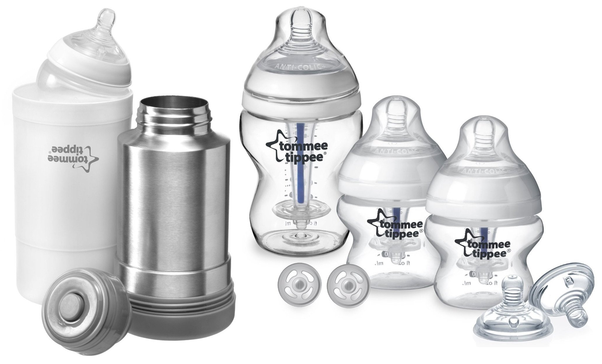 Tommee Tippee Closer to Nature Sensitive Tummy Starter Pack with Travel Bottle & Food Warmer