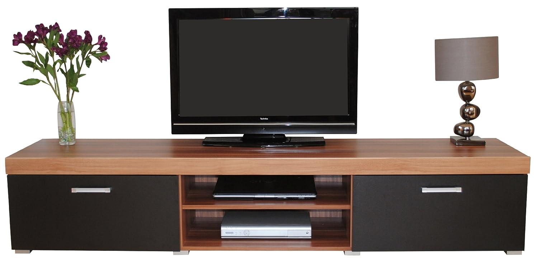 2 Metre Black & Walnut Sydney 2 Door TV Cabinet Extra Large Unit ...