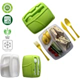 Boite Dejeuner à 3 Compartiments avec Couverts et Couvercle Boîte à Repas sans BPA Lunch Box en Plastique Passe au Lave Vaisselle Congélateur Micro-ondes Pour conserver vos repas contrôle les portions