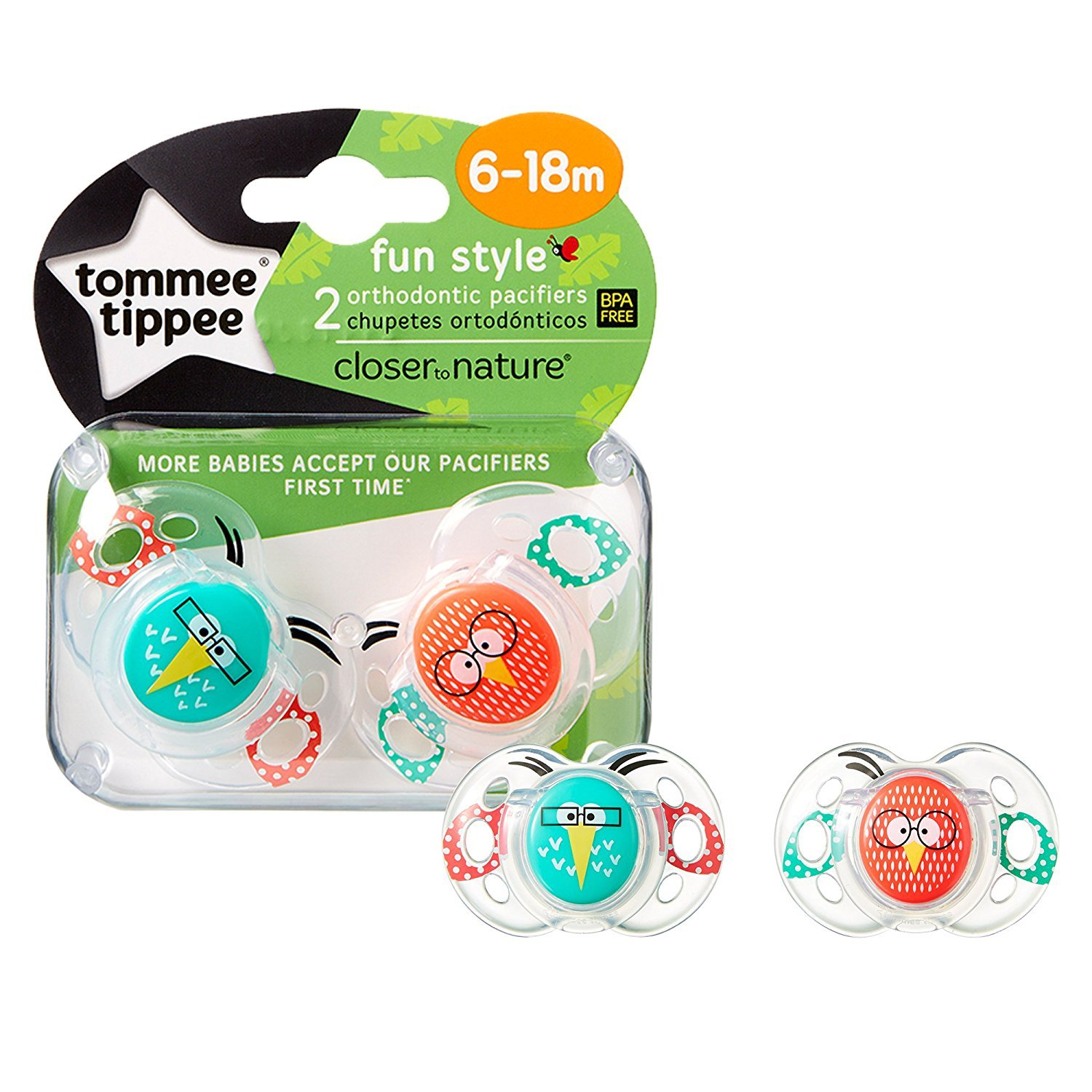Tommee Tippee Birds Fun style soothers 6-18m 2 in a pack bpa free
