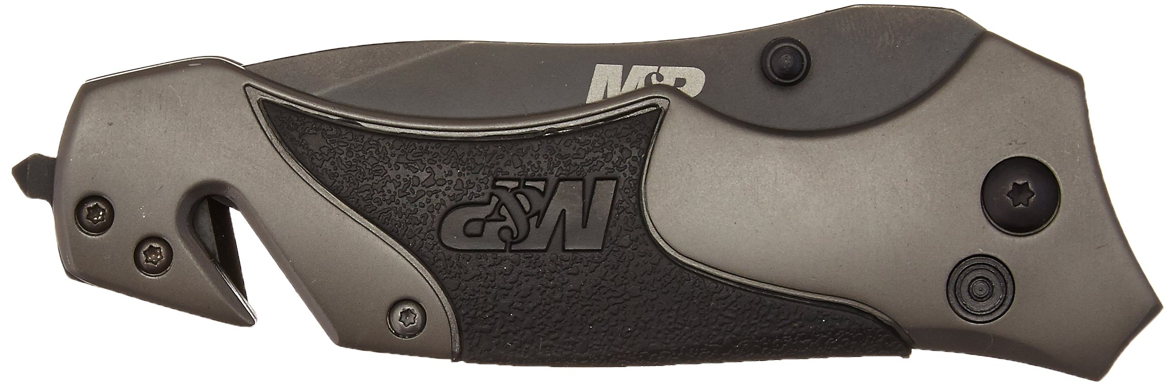 Smith & Wesson Military & Police SWMP8BS Plunge Lock Folding Knife Partially Serrated Drop Point Blade Rubber