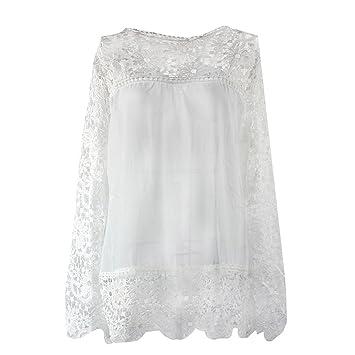 SODIAL(R) Camisas de manga larga de ganchillo hueco flor chiffon encaje blanco de