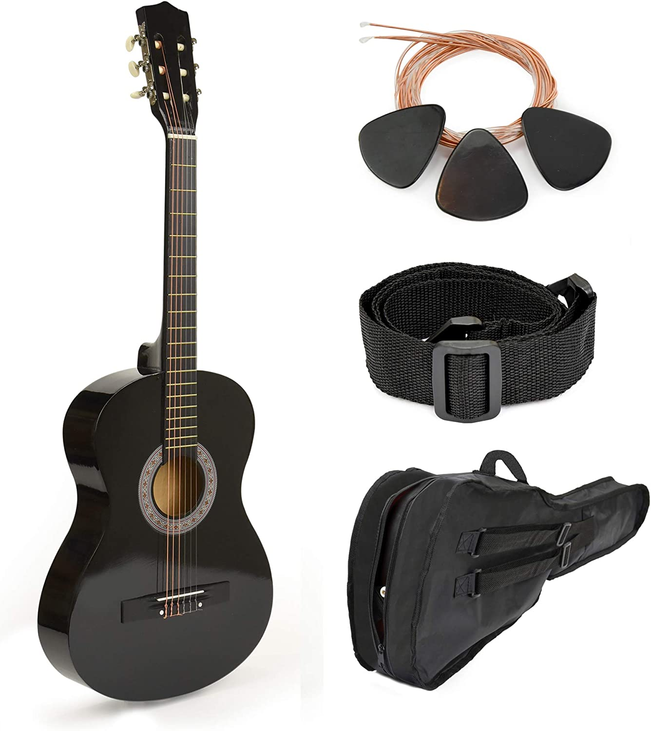 "38"" Black Wood Guitar mit Case und Accessories für Kids/Boys/Teens/Beginners"