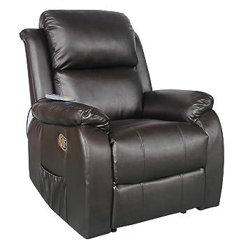 a0e2a426e399 Fernsehsessel mit Heizung Massage Kunstleder Relaxsessel TV Sessel ...