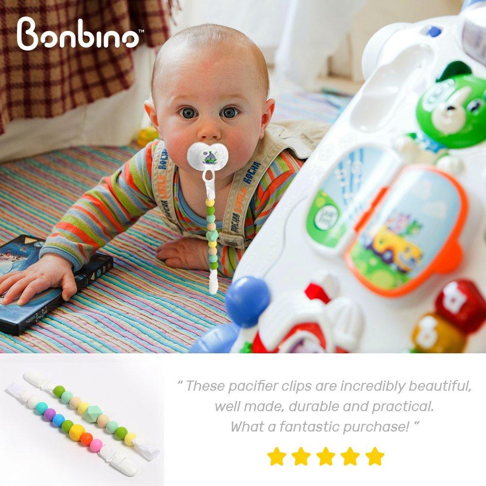 Bebé chupete chupete clip/Mordedor beads- 2 soportes para chupete de silicona - Fun, colorido y BPA - libre - Soporte de chupete Unisex para niños o niñas: ...