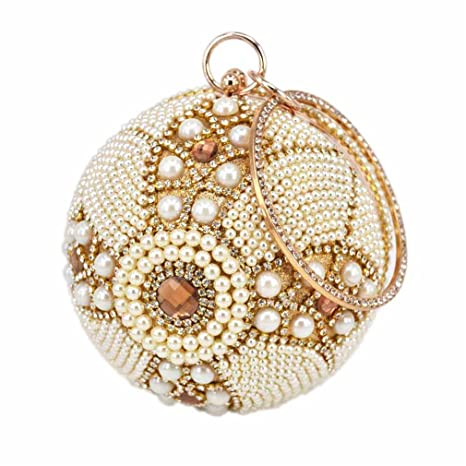 0a8d4f4c97 WANHUIBAO Gold Ball Wristlets Bag Women Silver Pearl Mini Tote Handbag  Chain Lady Wedding Bridal Evening