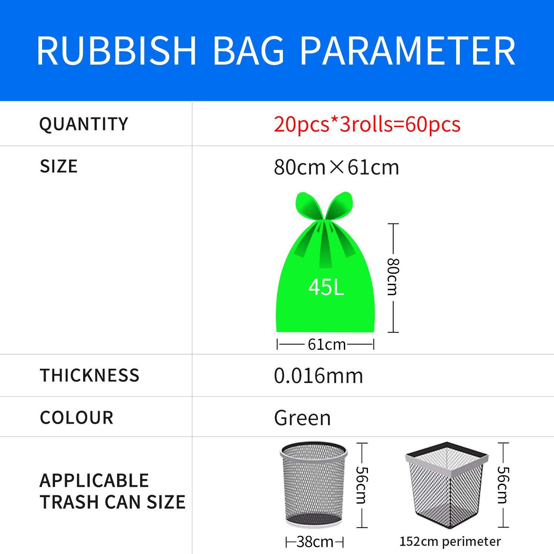 el Ba/ño Para el Hogar Material de Polietileno de Alta Densidad Bolsas de Basura 45L 3 x 20 Unidade La Cocina Extremadamente Resistentes y Resistentes a los L/íquidos La Oficina 80 /× 61cm
