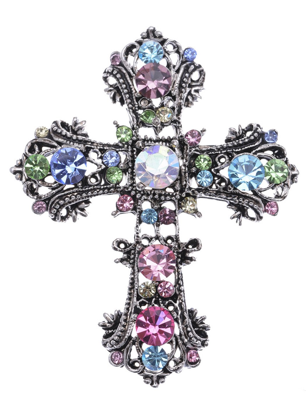 Alilang Antique Silvery Tone Multi Rhinestones Colorful Holy Cross Brooch Pin