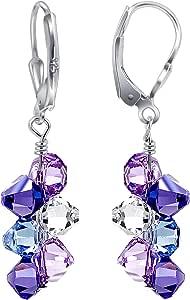 Shimmering Swarovski Elements Multicolor Crystal Leverback Handmade Drop Earrings with secure 925 Sterling Silver